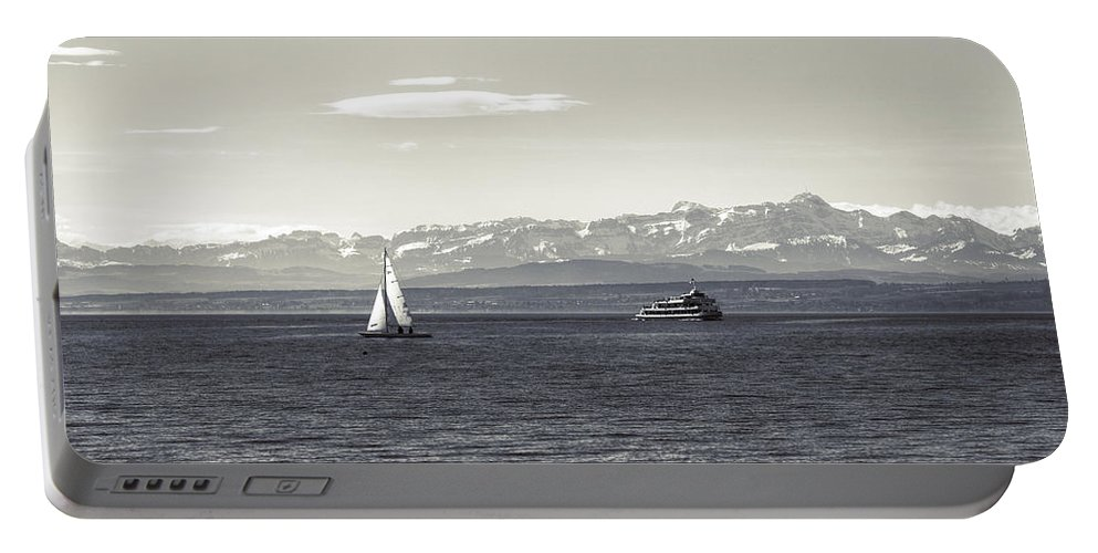 Ship Portable Battery Charger featuring the photograph boats on Lake Constance by Joana Kruse