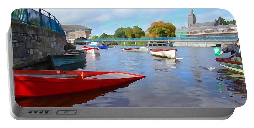 Salmon Portable Battery Charger featuring the photograph Boats On The Garavogue by Charlie and Norma Brock