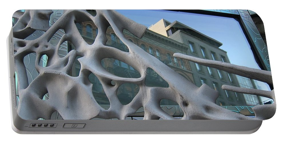 Reflections Portable Battery Charger featuring the photograph Bond Street Sculpture by Stefa Charczenko