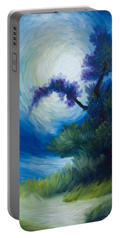 Nature Portable Battery Charger featuring the painting Bonzai II by James Christopher Hill