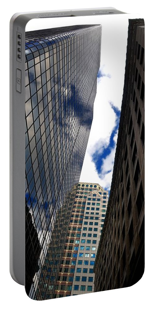 Portable Battery Charger featuring the photograph Boston Blue Sky And Stone by Mark Valentine
