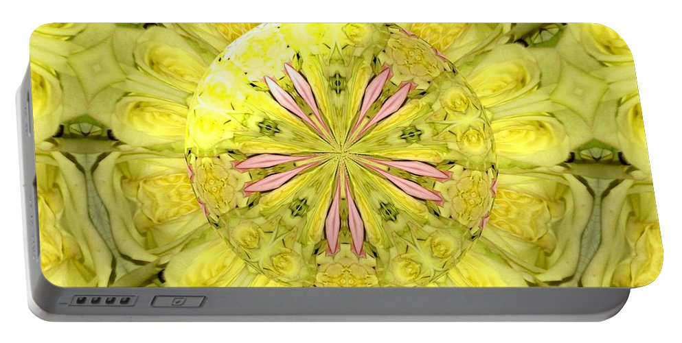 Yellow Roses Portable Battery Charger featuring the photograph Bouquet Of Roses Kaleidoscope 12 by Rose Santuci-Sofranko