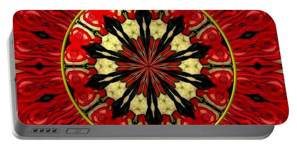 Red Roses Portable Battery Charger featuring the photograph Bouquet Of Roses Kaleidoscope 8 by Rose Santuci-Sofranko