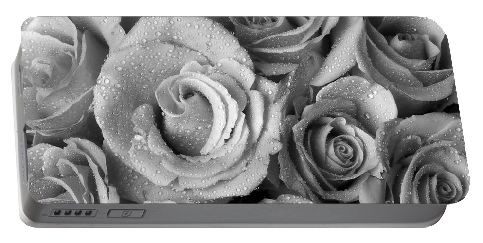 Anniversary Portable Battery Charger featuring the photograph Bouquet Of Roses With Water Drops In Black And White by James BO Insogna