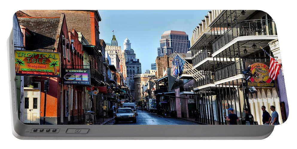 Bourbon Street By Day Portable Battery Charger featuring the photograph Bourbon Street By Day by Bill Cannon