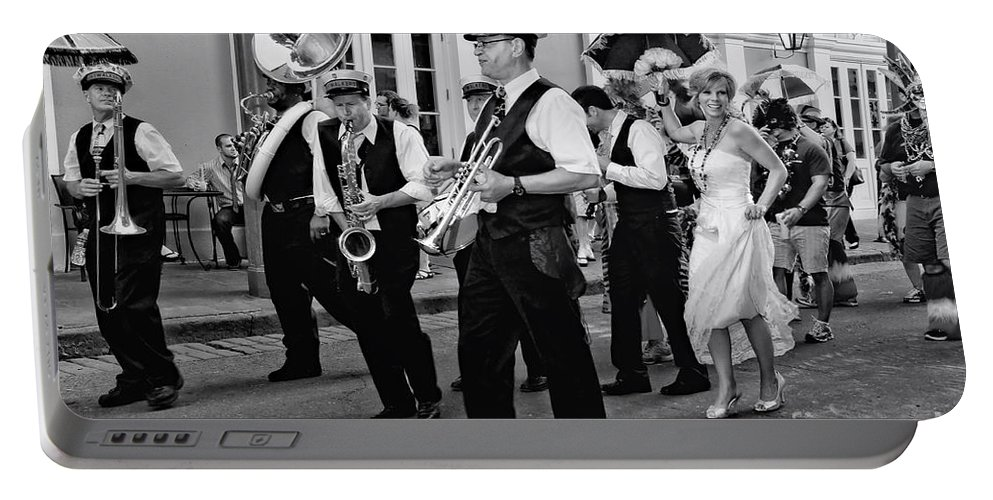 New Orleans Prints Portable Battery Charger featuring the photograph Bourbon Street Second Line Wedding New Orleans In Black And White by Kathleen K Parker