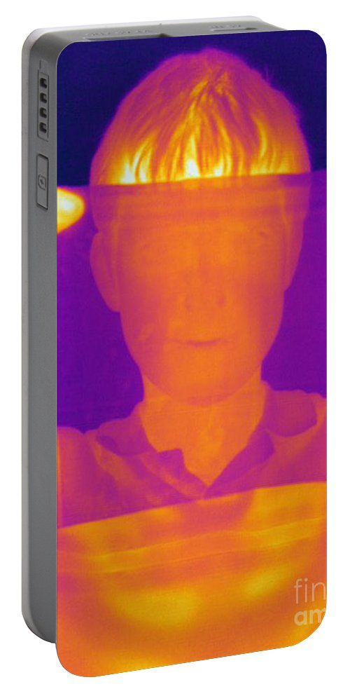 Thermogram Portable Battery Charger featuring the photograph Boy Holding Black Plastic by Ted Kinsman