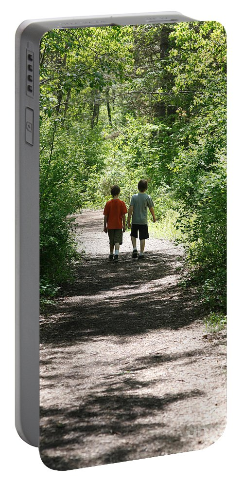Country Portable Battery Charger featuring the photograph Boys Hiking In Woods by Ted Kinsman