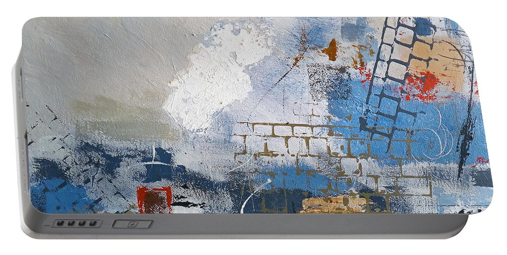 Abstract Portable Battery Charger featuring the painting Breaking Down Walls by Ruth Palmer