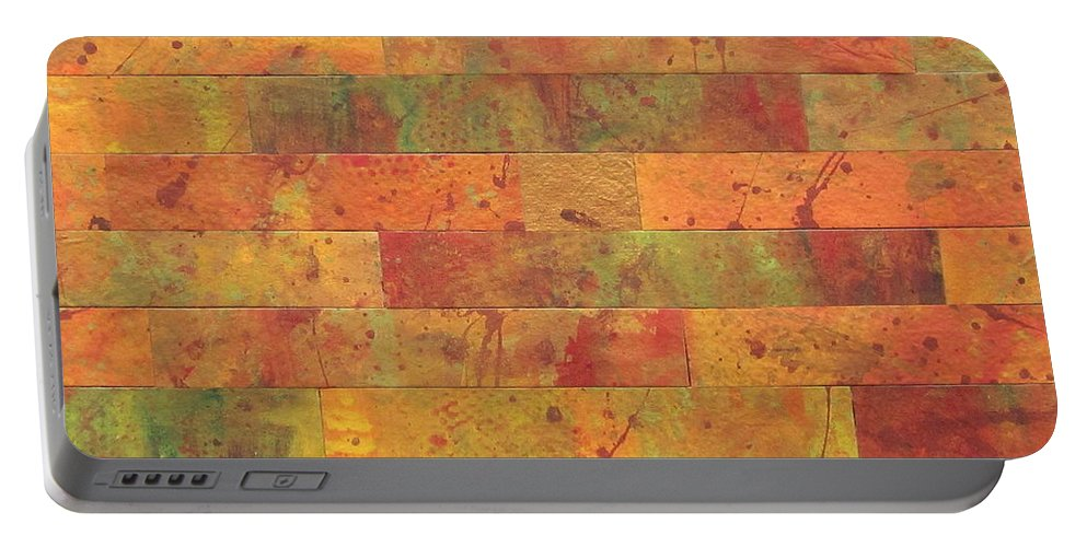 Abstract Portable Battery Charger featuring the painting Brick Orange by Kathy Sheeran
