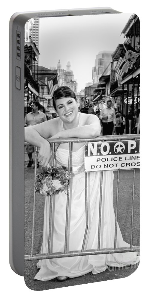 Bride Portable Battery Charger featuring the photograph Bride On The Barricade On Bourbon St Nola by Kathleen K Parker