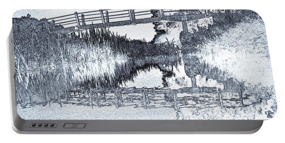 Bridge Portable Battery Charger featuring the digital art Bridge Across The River by David Pyatt