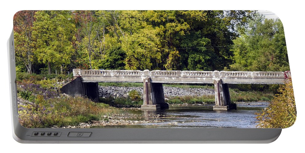 Stream Portable Battery Charger featuring the photograph Bridge Across The Stream by Darleen Stry