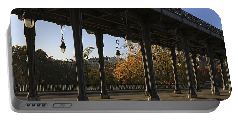 Pont Portable Battery Charger featuring the photograph Bridge Of Bir Hakeim In Paris by Louise Heusinkveld