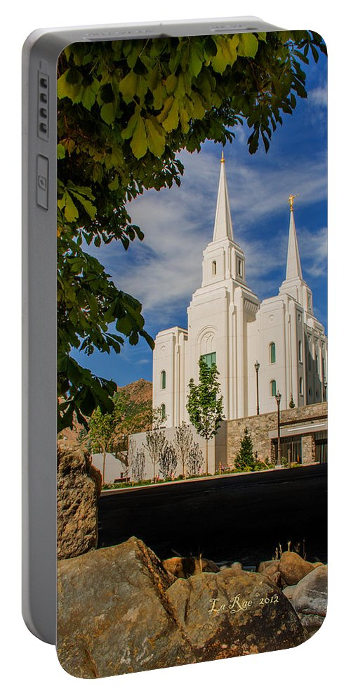 Brigham City Temple Photography Portable Battery Charger featuring the photograph Brigham City Temple Stones by La Rae Roberts