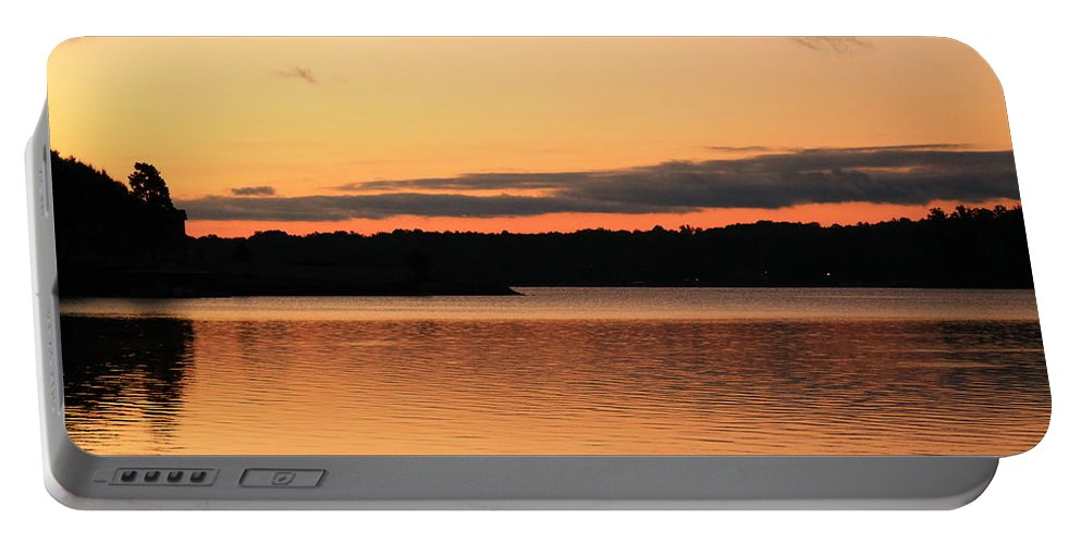 Sunrise Portable Battery Charger featuring the photograph Bright Morning Skies On The Lake by Catie Canetti