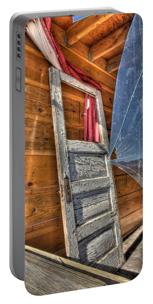 Architecture Portable Battery Charger featuring the photograph Broken Window by Peter Tellone