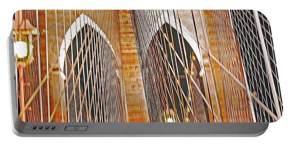 Bridge Portable Battery Charger featuring the photograph Brooklyn Bridge Arch by Stefa Charczenko