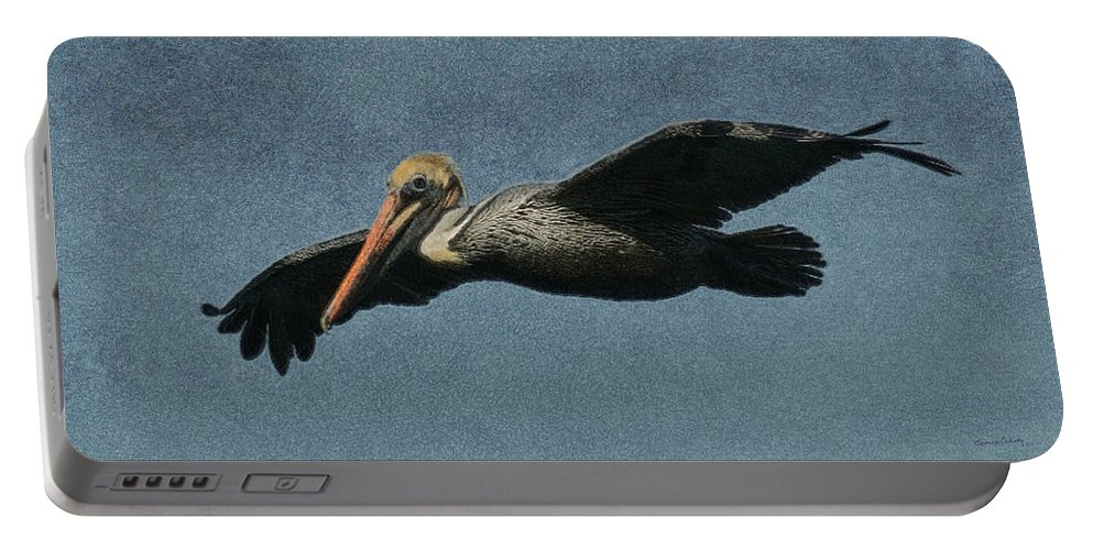Pelican Portable Battery Charger featuring the digital art Brown Pelican Painterly by Ernie Echols