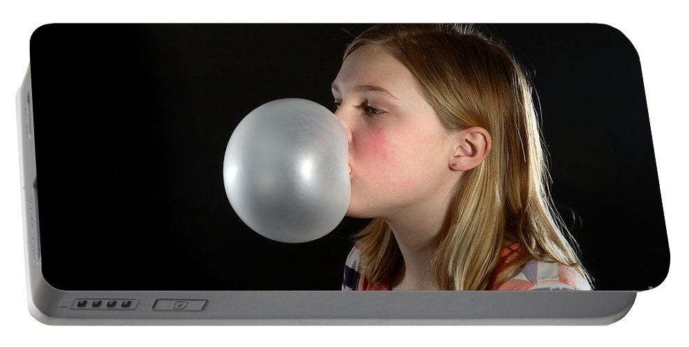 Gum Portable Battery Charger featuring the photograph Bubblegum Bubble 3 Of 6 by Ted Kinsman