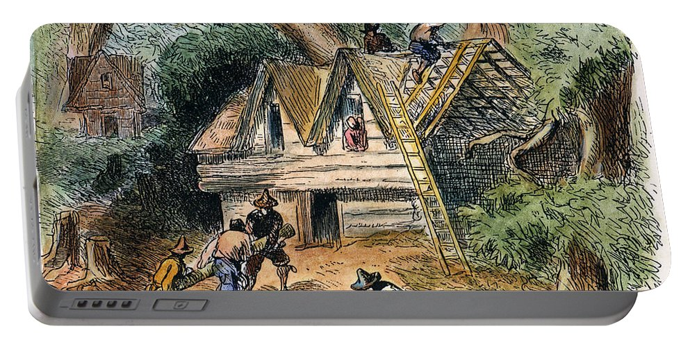 17th Century Portable Battery Charger featuring the photograph Building Houses, 17th C by Granger