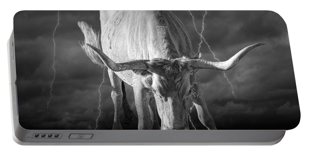 Art Portable Battery Charger featuring the photograph Bull Market by Randall Nyhof