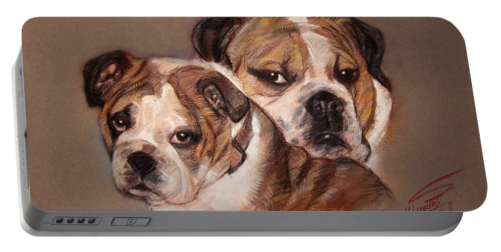 Bulldogs Portable Battery Charger featuring the pastel Bulldogs by Ylli Haruni