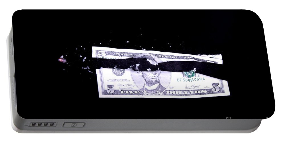 Bullet Portable Battery Charger featuring the photograph Bullet Hitting A Five Dollar Bill by Ted Kinsman