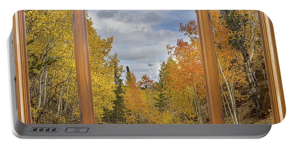 Windows Portable Battery Charger featuring the photograph Burning Autumn Aspens Back Country Colorado Window View by James BO Insogna