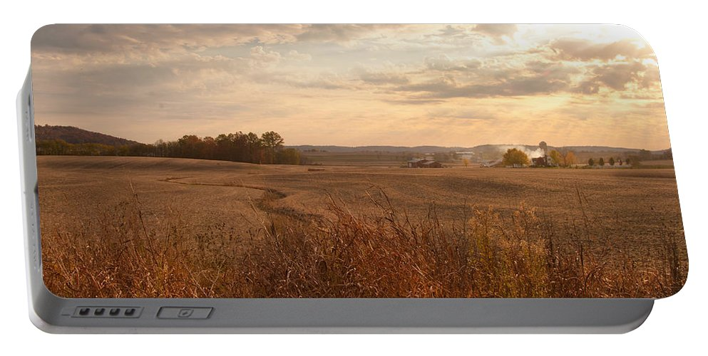 Farm Portable Battery Charger featuring the photograph Burning Leaves On The Farm by Randall Branham