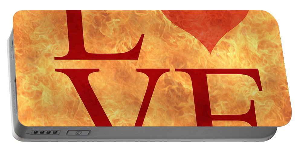 Love Text Portable Battery Charger featuring the digital art Burning Love by Georgeta Blanaru