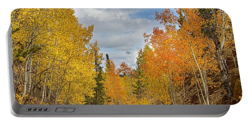 Colorful Portable Battery Charger featuring the photograph Burning Orange And Gold Autumn Aspens Back Country Colorado Road by James BO Insogna