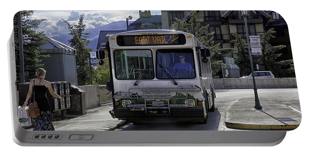 Vail Portable Battery Charger featuring the photograph Bus To East Vail - Colorado by Madeline Ellis