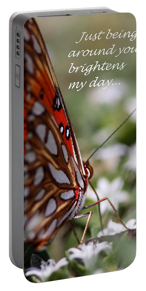Friends Portable Battery Charger featuring the photograph Butterfly Friendship Card by Travis Truelove