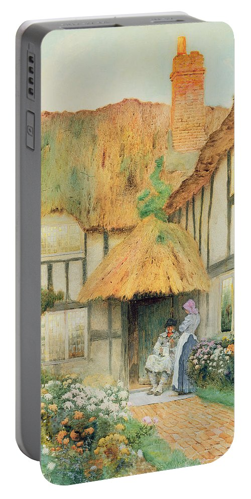 Thatch; Smock Portable Battery Charger featuring the painting By The Cottage Door by Arthur Claudes Strachan