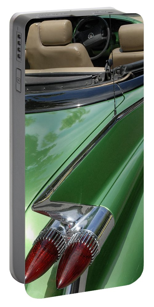 Cadillac Portable Battery Charger featuring the photograph Cadillac Tail Fins by Dave Mills