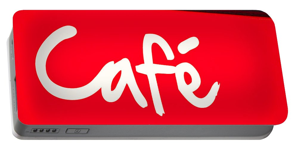 Breakfast Portable Battery Charger featuring the photograph Cafe Sign by Tom Gowanlock