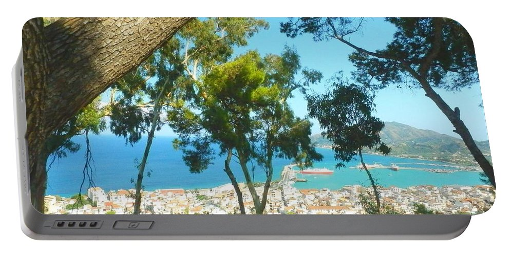 Zakynthos Portable Battery Charger featuring the photograph Cafe Terrace At Bohali Overlooking Zante Town by Ana Maria Edulescu