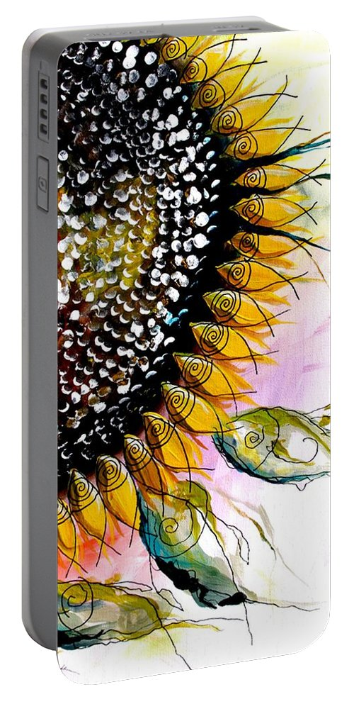 Sunflower Portable Battery Charger featuring the painting California Sunflower by J Vincent Scarpace