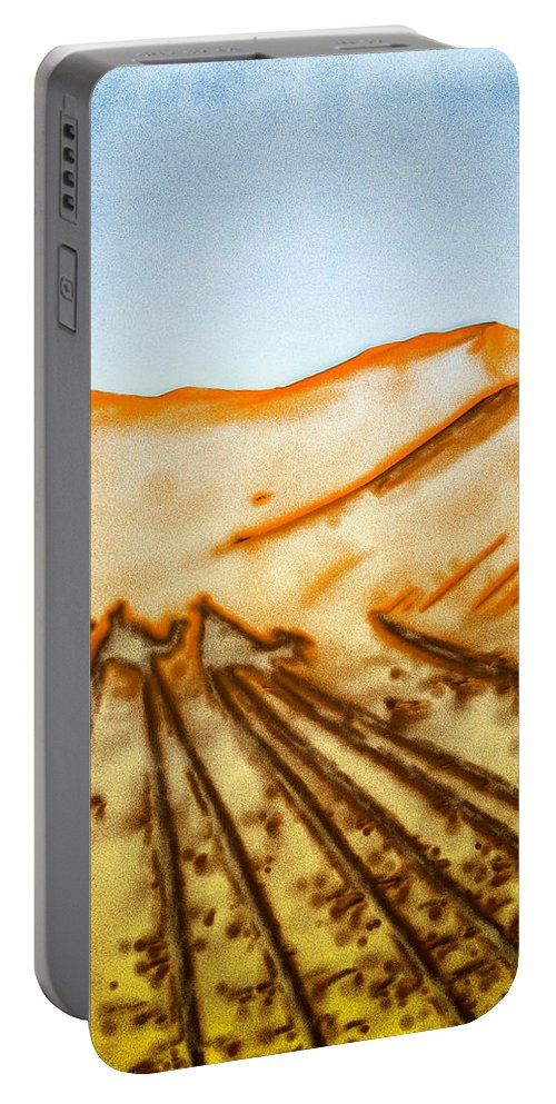 Afternoon Portable Battery Charger featuring the photograph Camel Shadows by Tom Gowanlock