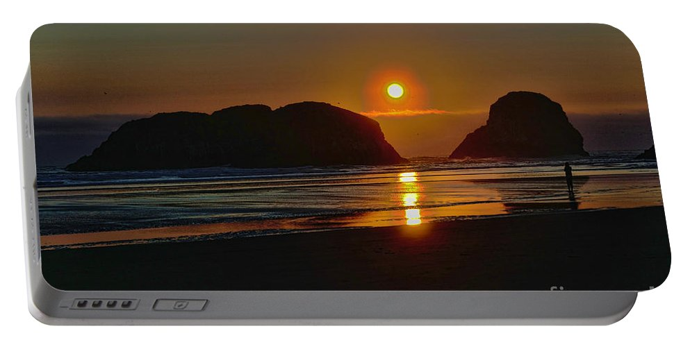City Of Cannon Beach Located Pacific Northwest Coast Oregon Portland South Of Astoria Portable Battery Charger featuring the photograph Cannon Beach Sunset by RJ Aguilar