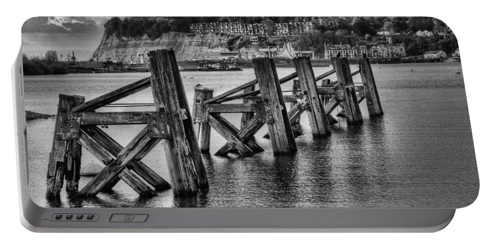 Cardiff Bay Jetty Portable Battery Charger featuring the photograph Cardiff Bay Old Jetty Supports Mono by Steve Purnell