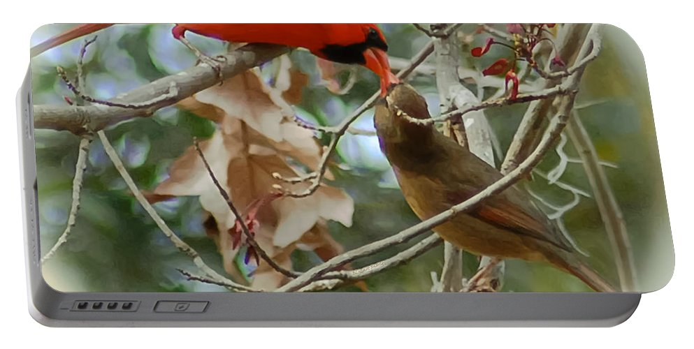 Cardinals Portable Battery Charger featuring the photograph Cardinal Kisses by DigiArt Diaries by Vicky B Fuller