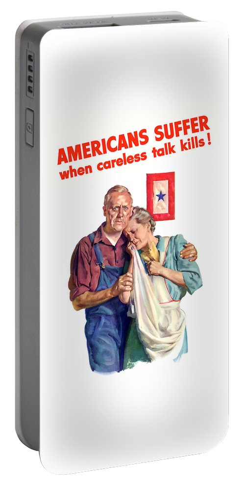 Blue Star Mother Portable Battery Charger featuring the painting Careless Talk Kills -- Ww2 Propaganda by War Is Hell Store