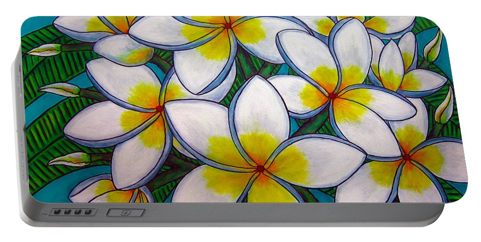 Frangipani Portable Battery Charger featuring the painting Caribbean Gems by Lisa Lorenz