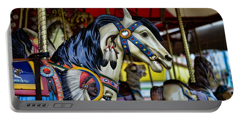 Carousel Portable Battery Charger featuring the photograph Carousel Horse 6 by Paul Ward