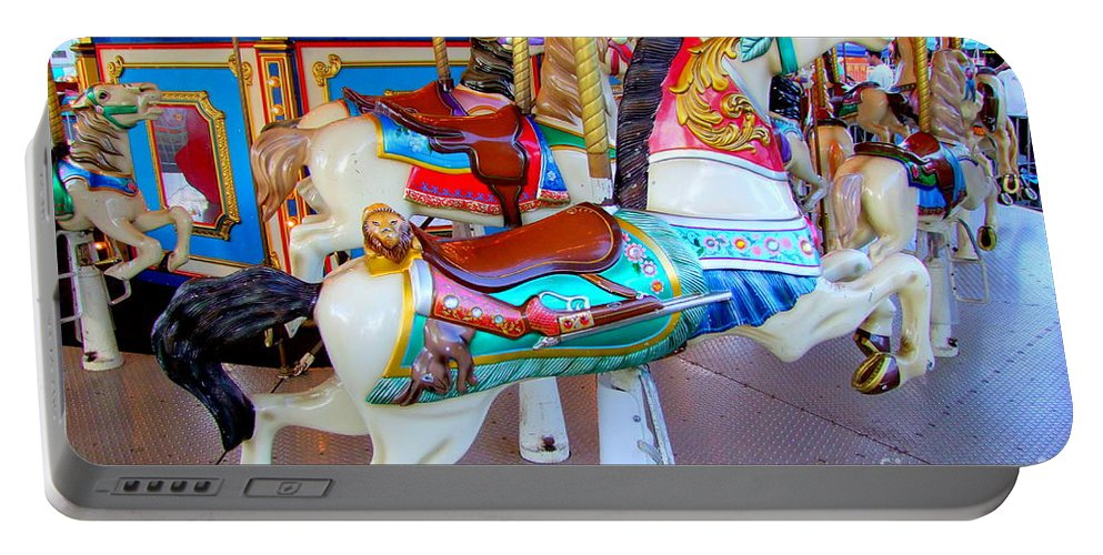 Carousel Horse Portable Battery Charger featuring the photograph Carousel Horse For The Hunter by Mary Deal
