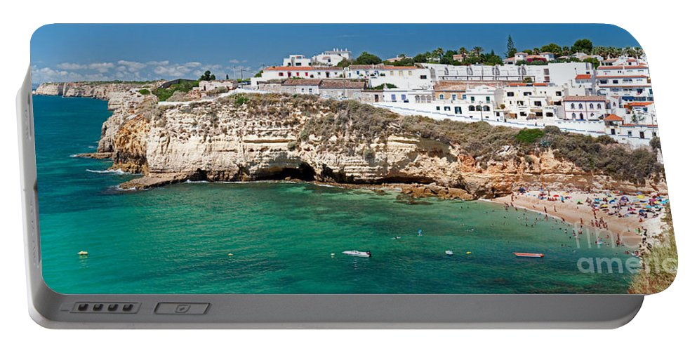 Seaside Portable Battery Charger featuring the photograph Carvoeiro Panorama by Jim Chamberlain