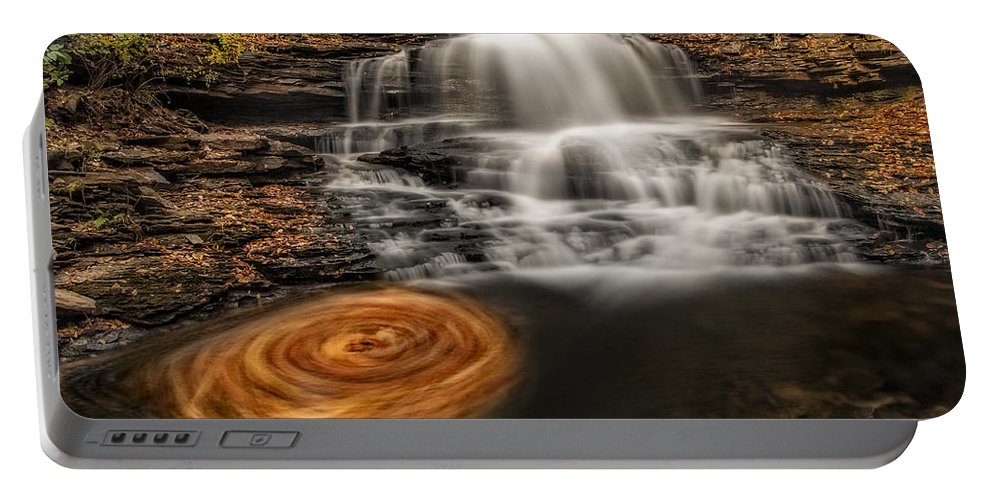 Onondaga Falls Portable Battery Charger featuring the photograph Cascading Swirls by Susan Candelario