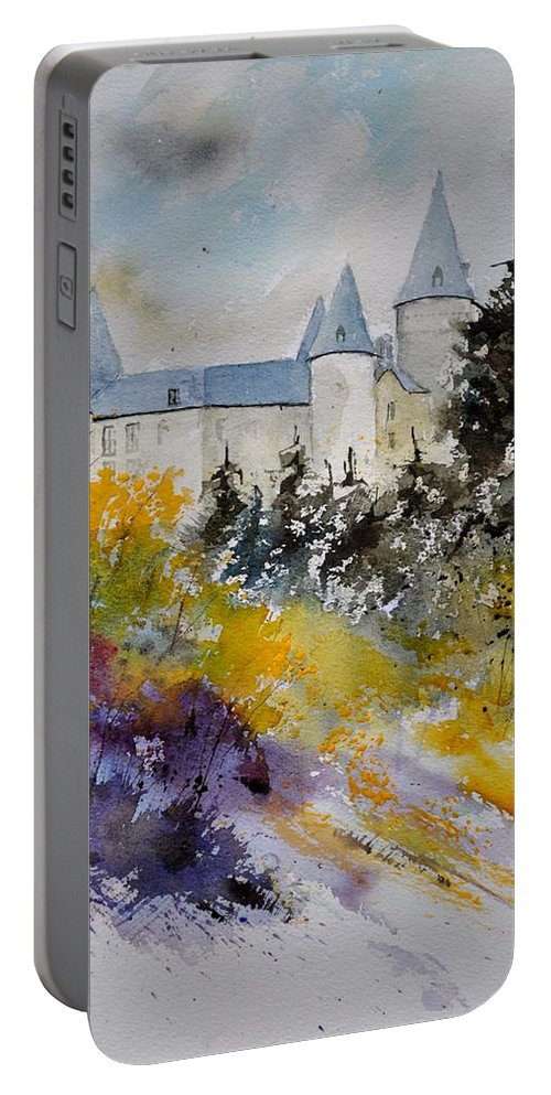 Landscape Portable Battery Charger featuring the painting Castle Of Veves Belgium by Pol Ledent